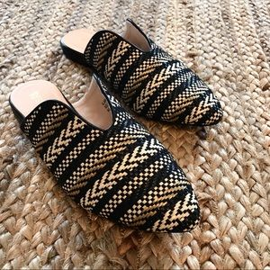 🌿Restricted Black Mules|Textured Natural Woven